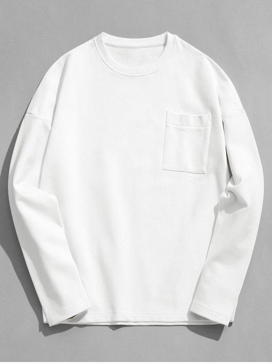 fancy Solid Color Pocket Fleece Sweatshirt - WHITE 3XL