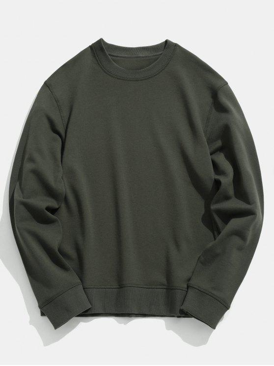 Basic Crew Neck Sweatshirt   Camouflage Green L by Zaful