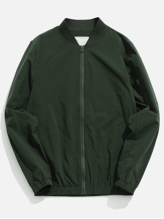 trendy Pockets Quick Dry Zipper Baseball Jacket - CAMOUFLAGE GREEN M