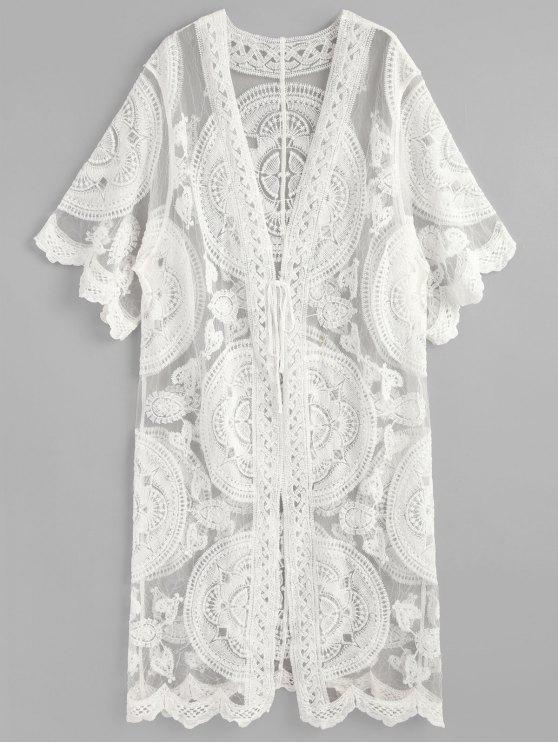 Kimono à Broderie et Noeud Devant - Blanc Taille Unique
