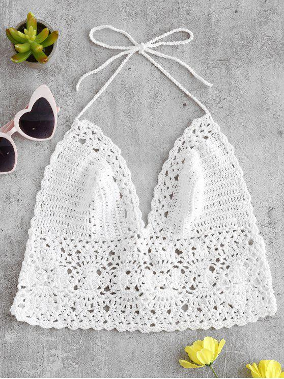 unique Crochet Bralette Bikini Top - WHITE ONE SIZE