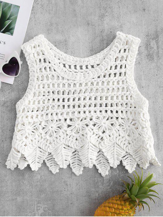 Haut Court en Gros Crochet - Blanc Taille Unique