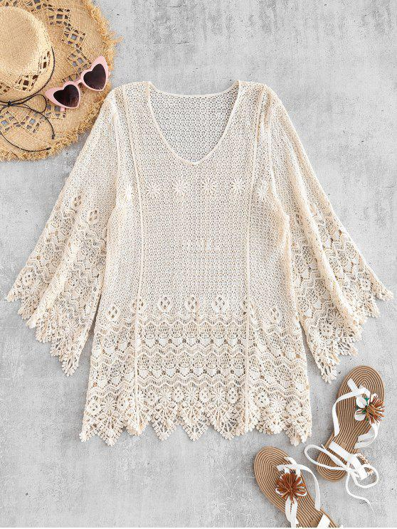 affordable Bell Sleeve Crochet Top - WARM WHITE ONE SIZE