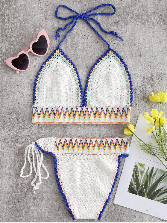 Conjunto de bikini de ganchillo en zigzag - Blanco Talla única