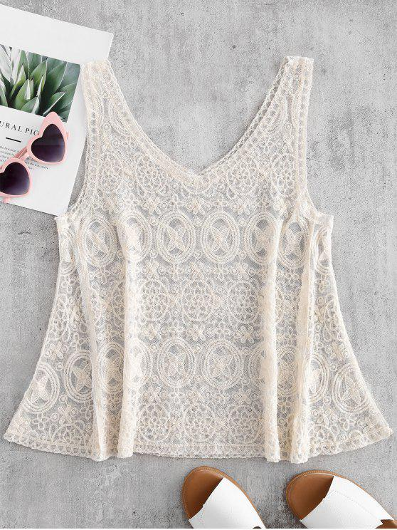 women Embroidered Tank Top - CRYSTAL CREAM ONE SIZE