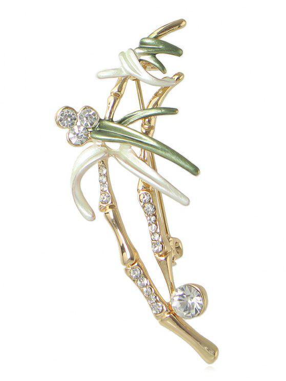 Spilla A Fiore Con Diamante Artificiale - verde