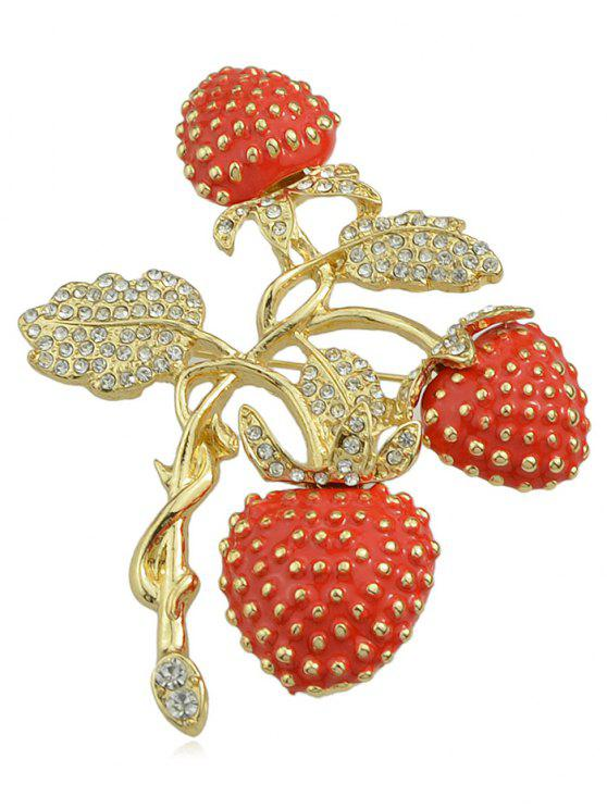 ladies Rhinestone Strawberries Design Brooch - MULTI