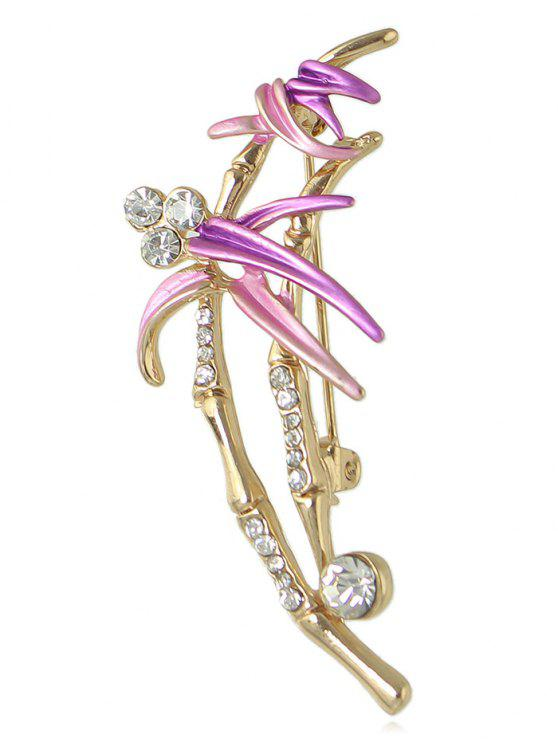 lady Rhinestone Flower Spray Designed Brooch - PURPLE
