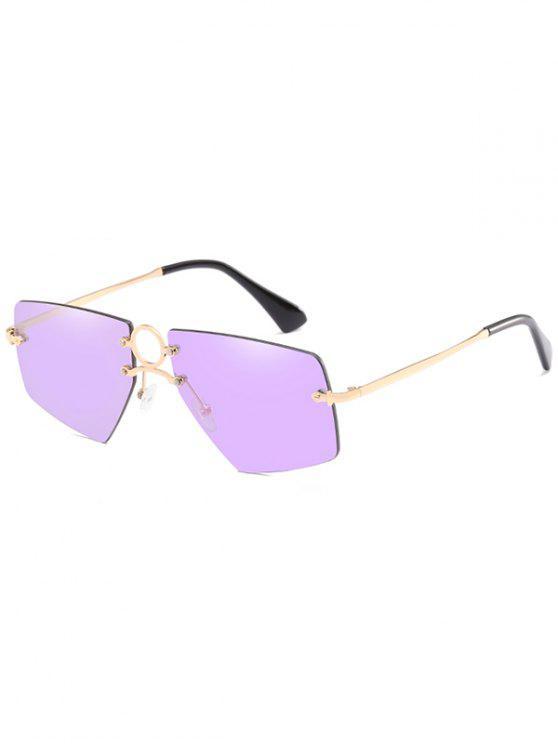 Elegante Oco Out Ring Sem Aro Óculos De Sol - Rosa de Néon Brilhante
