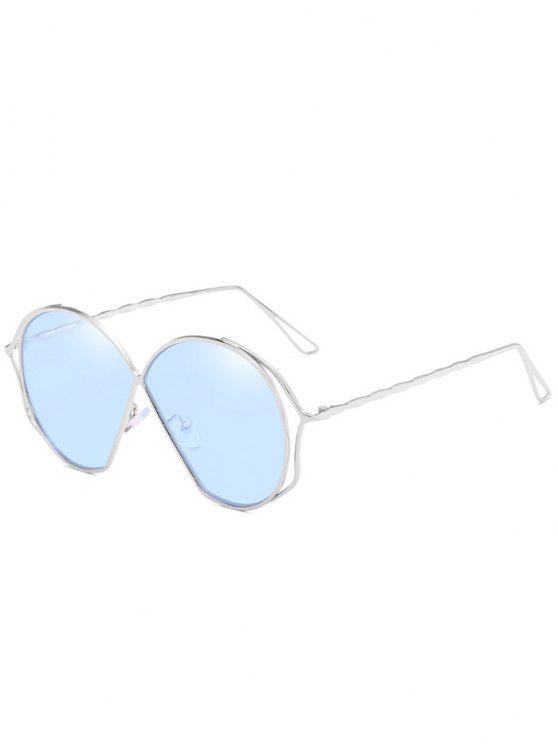 Óculos de sol de lente plana irregular de armação metálica - Dia Céu Azul