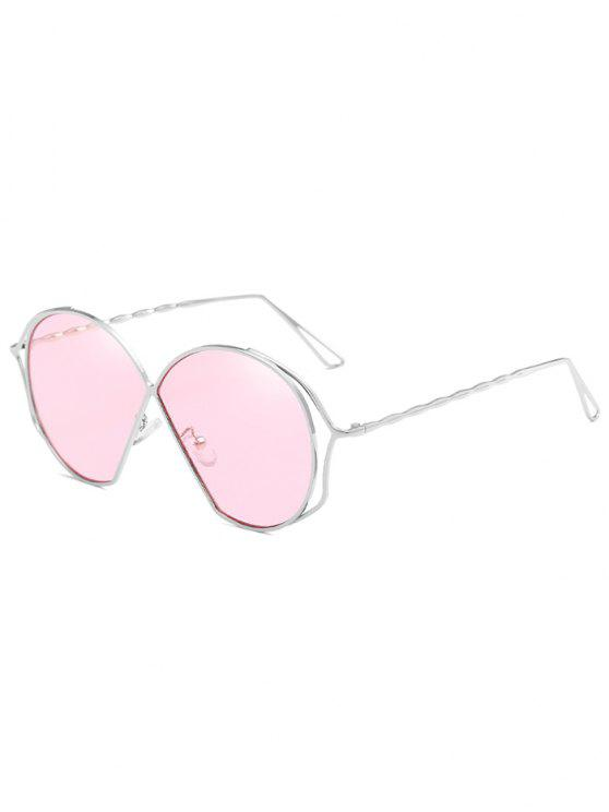 ladies Metal Frame Irregular Flat Lens Novelty Sunglasses - PIG PINK
