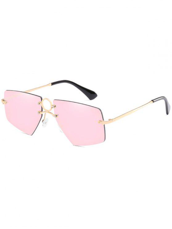 trendy Stylish Hollow Out Ring Rimless Sunglasses - LIGHT PINK