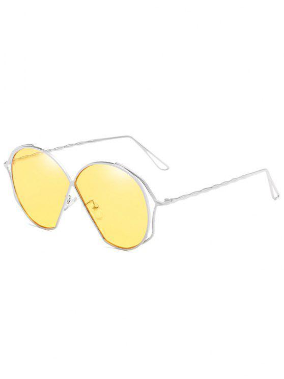 Óculos de sol de lente plana irregular de armação metálica - Milho Amarelo