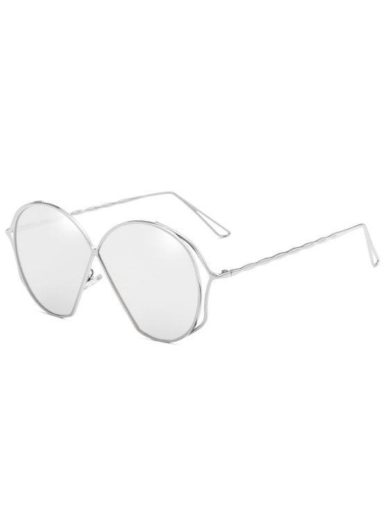 Óculos de sol de lente plana irregular de armação metálica - Platina