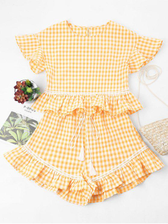women Gingham Ruffles Top and Shorts Set - GOLDEN BROWN L