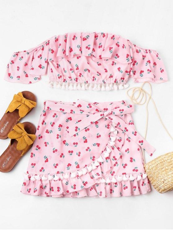 Conjunto de saias de borla babados de cereja - Rosa Claro M