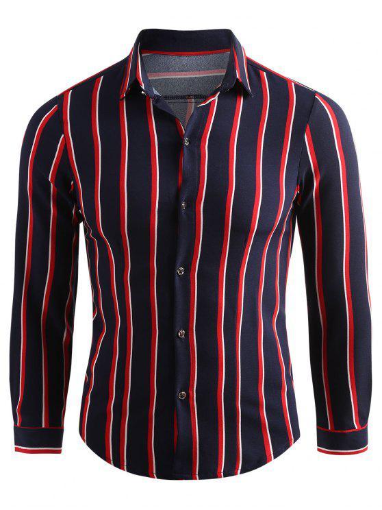 قميص مقلم لأسفل عادية القميص - طالبا الأزرق L