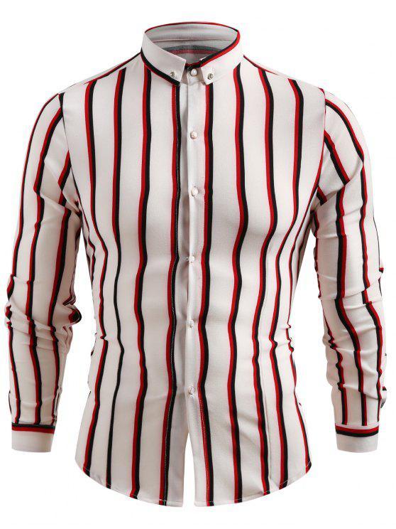 Camisa casual con botones a rayas - Blanco 2XL