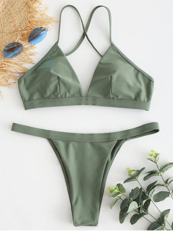 Bikini String Bretelle Croisé - Vert Camouflage L