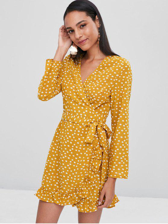 latest Polka Dot Ruffles Wrap Dress - BEE YELLOW M