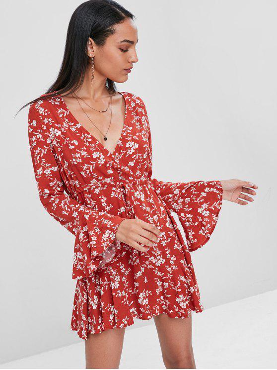 فستان بأكمام قصيرة مزينة برسمة الأزهار - كستنائي أحمر L