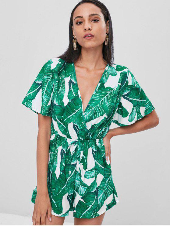 women Banana Leaf Print Surplice Romper - GREEN S