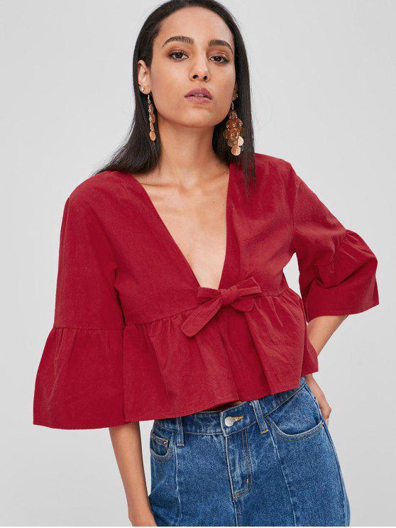 Blusa anudada suelta - Rojo Cereza L