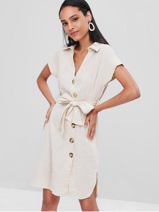 Robe Chemise Boutonnée Fendue - Blanc Chaud S