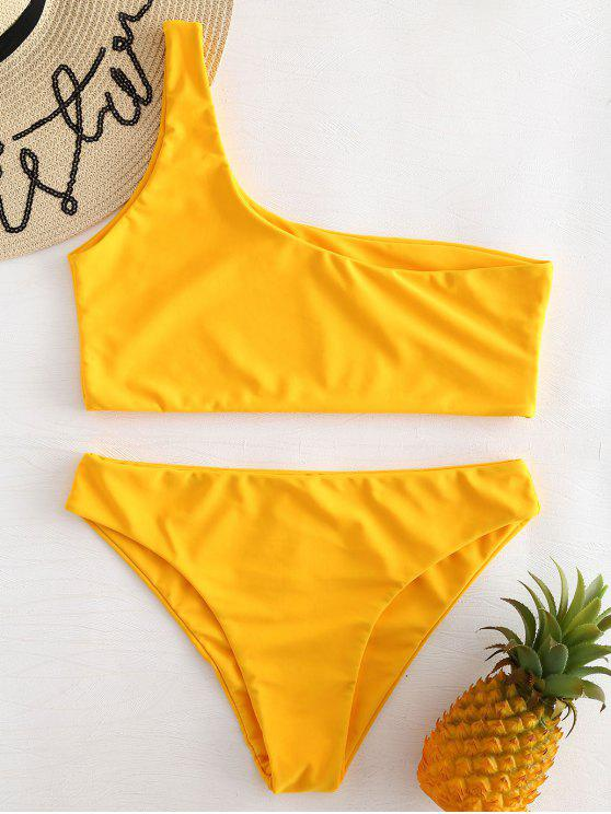 affordable One Shoulder Bikini Set - RUBBER DUCKY YELLOW L