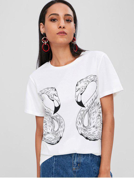 T de impressão em torno do pescoço Flamingo - Branco M