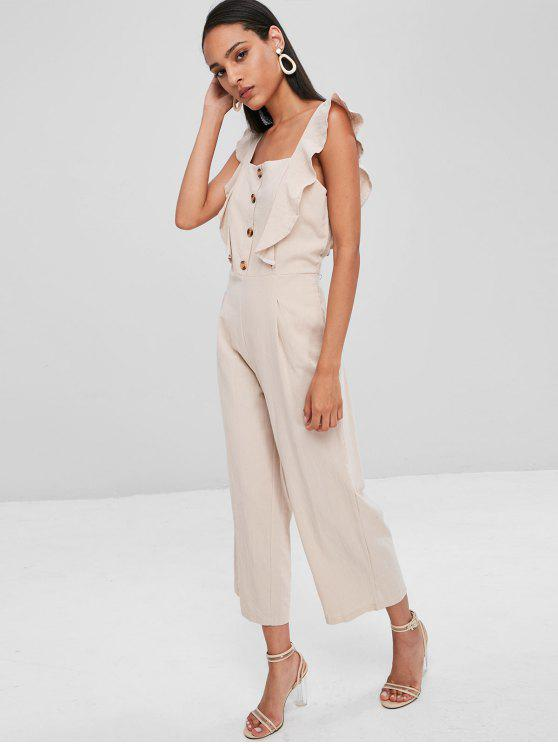 256d9cf7b307 26% OFF  2019 Square Neck Ruffle Wide Leg Jumpsuit In BEIGE