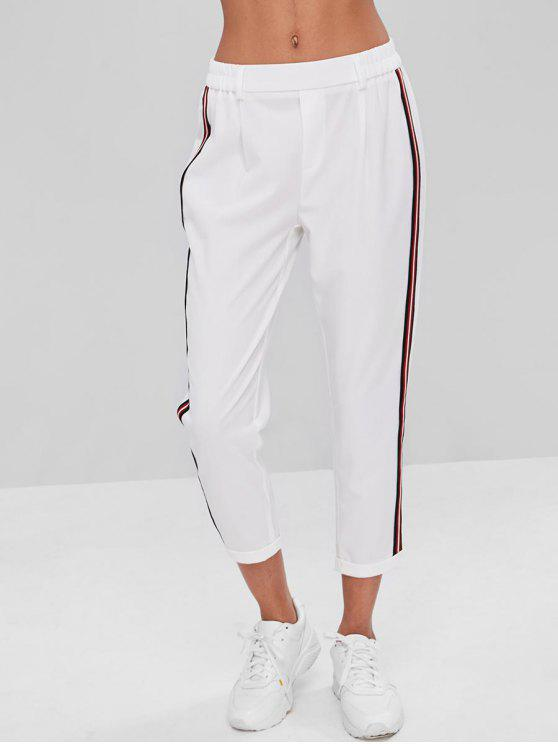 chic Stripes Patched Rolled Hem Pants - WHITE L