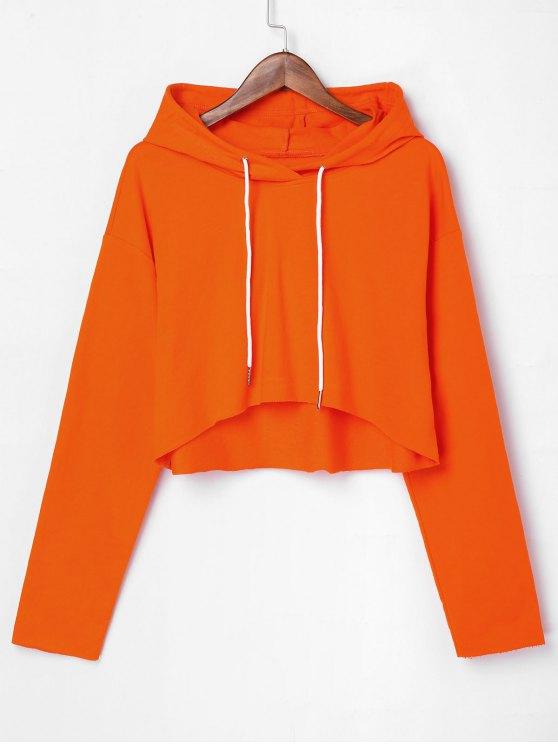 Felpa Con Cappuccio Corta A Spalle Oblique Con Orlo Crudo - Arancione XL
