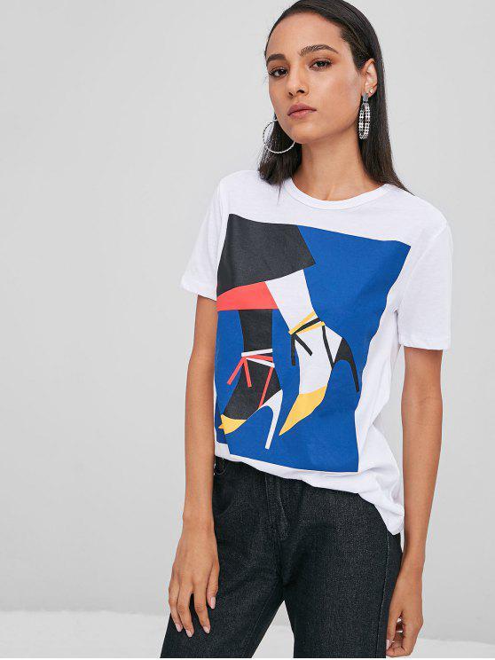 T-Shirt Sciolta Con Grafica Di Scarpe Con I Tacchi - Bianco L