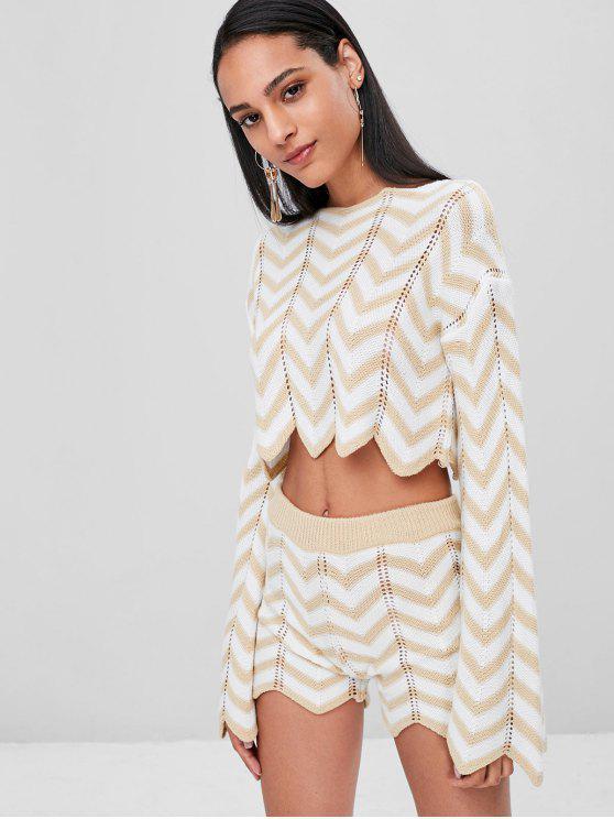 Conjunto de pantalones cortos de punto zigzag ojal - Blanco XL