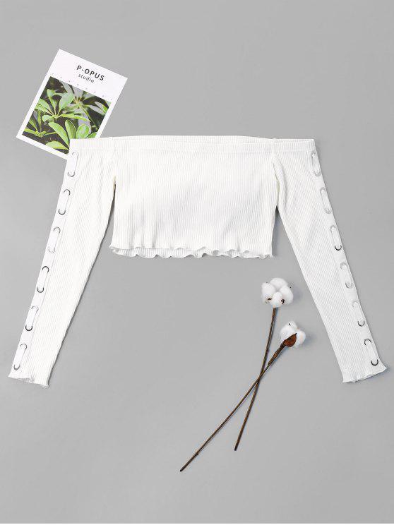 Crop Top à épaules dénudées - Blanc XL