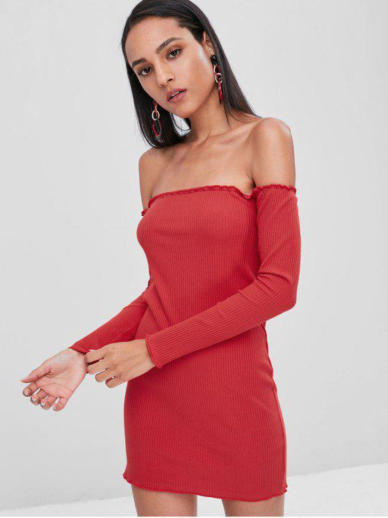 Malha com nervuras fora do ombro vestido Bodycon - Vermelho S