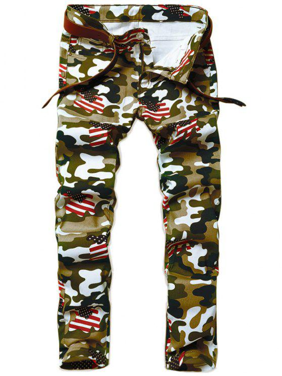 chic Camouflage USA Flag Print Zip Fly Pockets Jeans - ACU CAMOUFLAGE 34