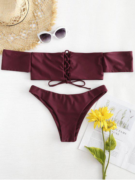 shop Bandeau Lace-up Bikini - RED WINE S