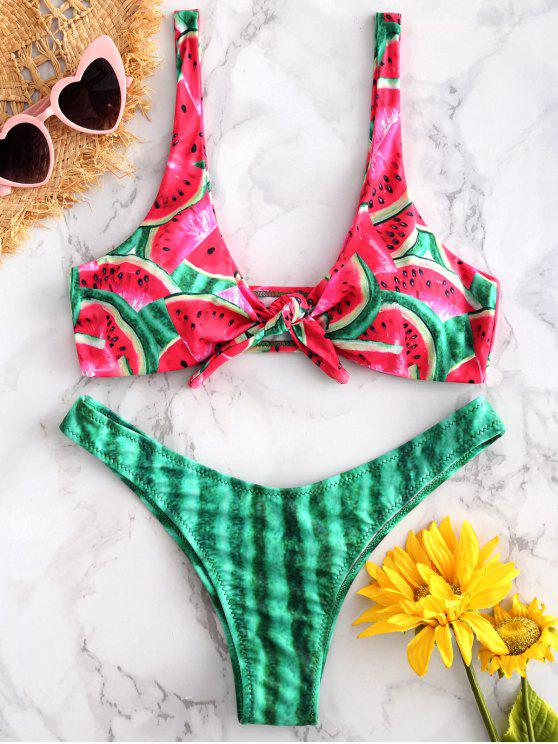 fancy ZAFUL Watermelon Front Knot Bikini - RED M
