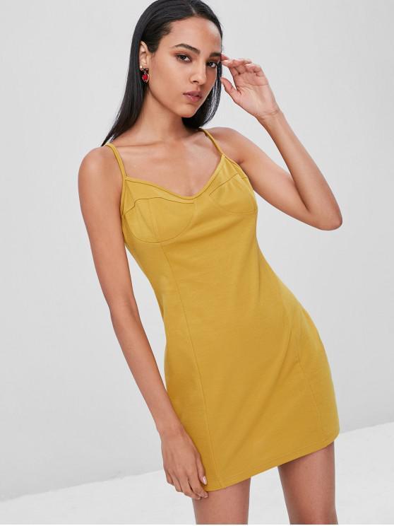 ladies Slip Club Bodycon Dress - GOLDEN BROWN S