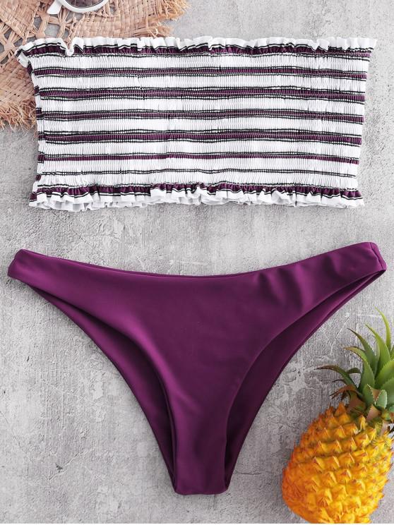 lady ZAFUL Stripe Smocked Bandeau Bikini Set - DARK CARNATION PINK L