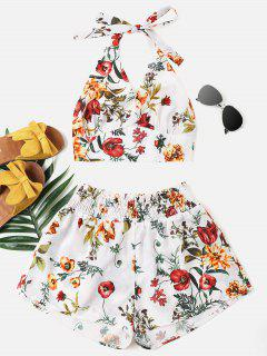 Print Halter Top And Shorts Set - White S