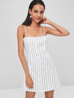 Button Up Striped Mini A Line Dress - White L