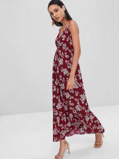 Empire Waist Floral Cami Midi Dress - Maroon S