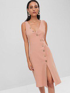 Diagonal Button Placket A Line Midi Dress - Misty Rose L