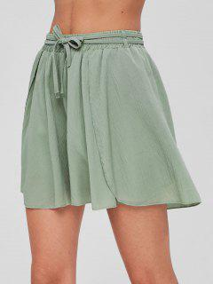 Petal Hem Flowy High Waisted Shorts - Green