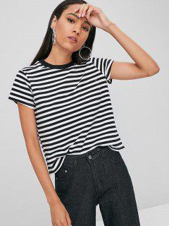 Striped Tee With Pocket - Black S