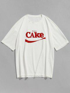 Letters Short Sleeve Casual T-shirt - White Xl