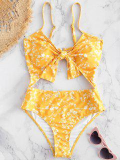Floral Cut-Out Knotted Swimsuit - Bright Yellow S